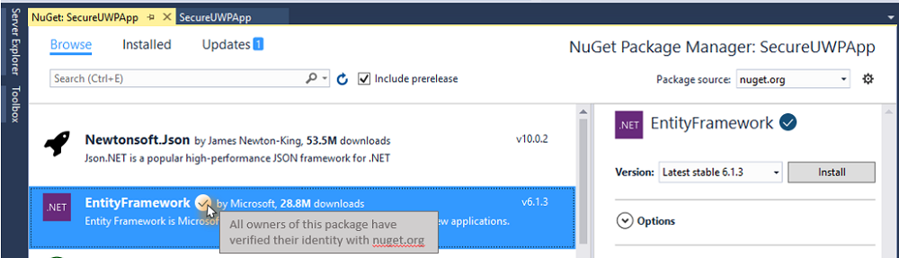 Visual Studio Signed Package from https://blog.nuget.org/20170417/Package-identity-and-trust.html